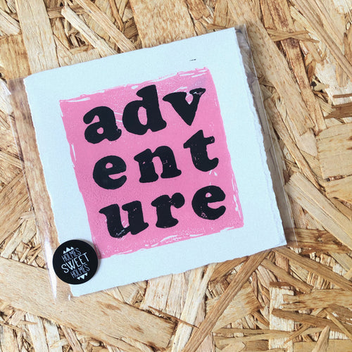 Adventure Original Lino Print PINK