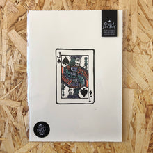 Load image into Gallery viewer, Jack • Playing Card, Jack of Spades Original 4 Layer Lino Cut Print A4 PASTEL ORANGE