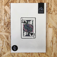 Load image into Gallery viewer, Jack • Playing Card, Jack of Spades Original 4 Layer Lino Cut Print A4 PASTEL PINK