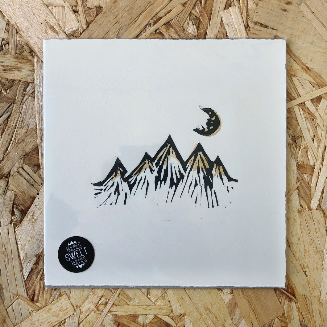 Mountains & Moon Original Lino Print METALLIC GOLD