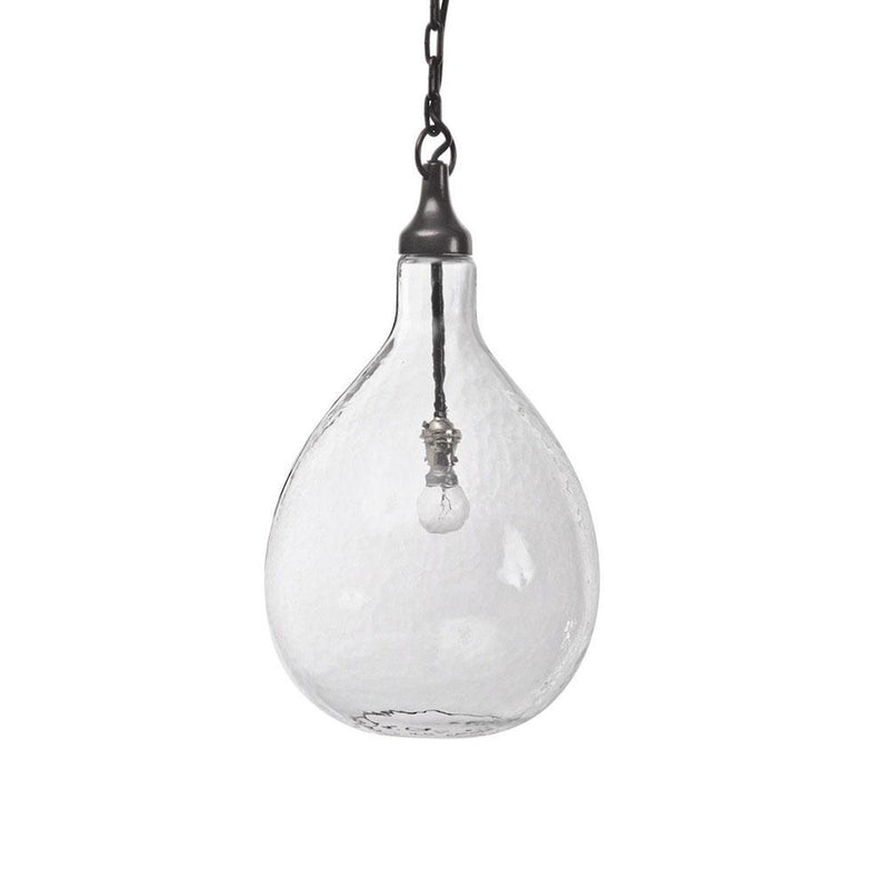 Bubble dappled glass pendant lighting suspended from chain.