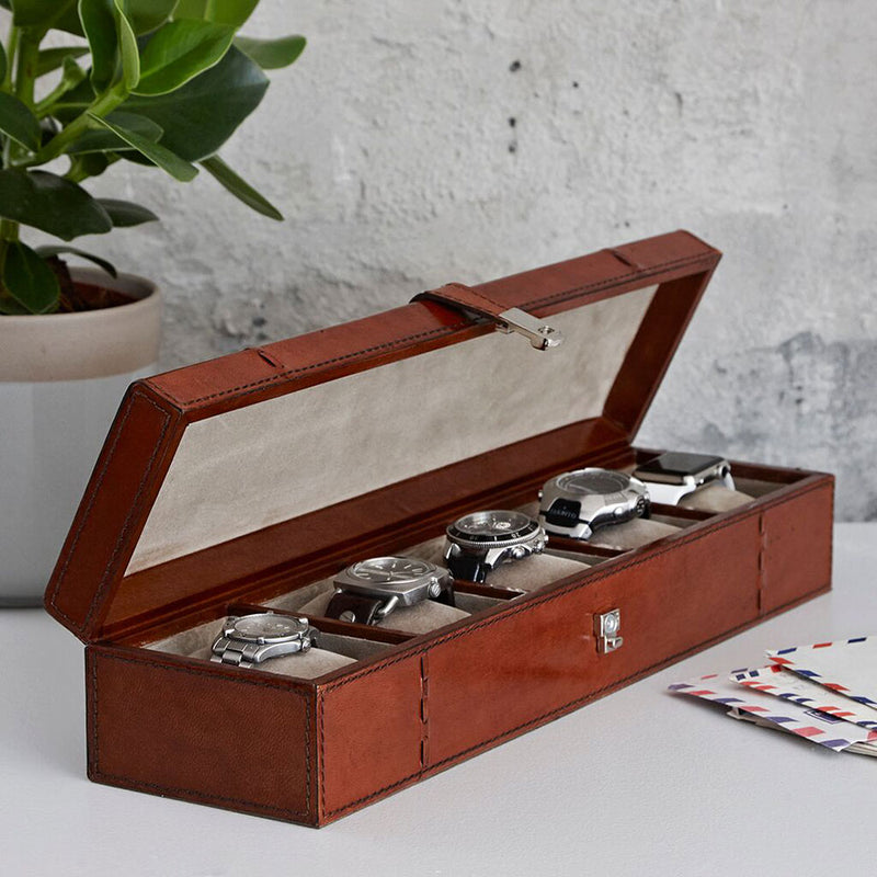 leather watch box with space for 5 watches,