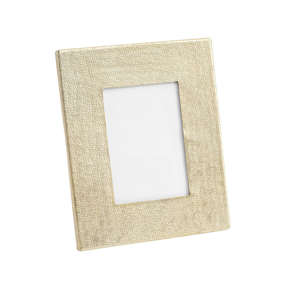 soft gold coloured photo frame with textured metal work