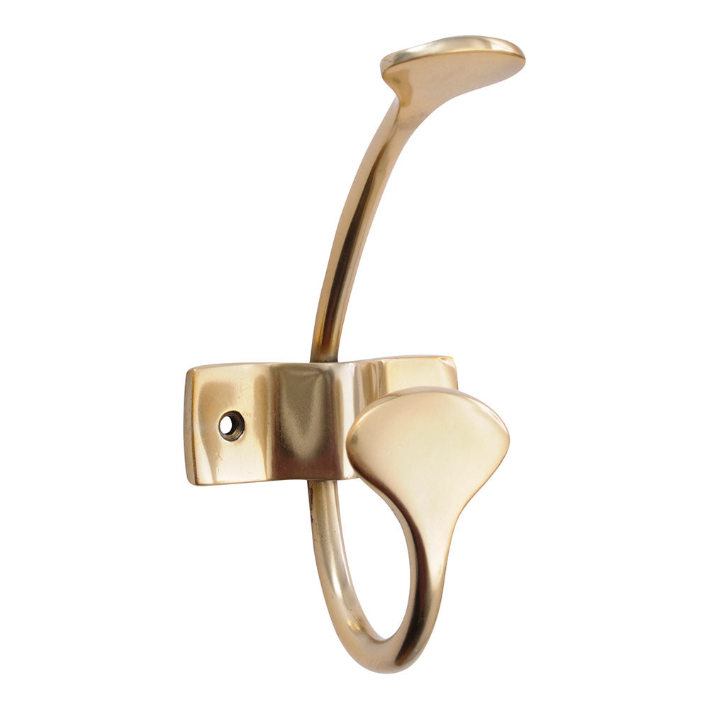 geneva wall mounted double coat hook in gold.