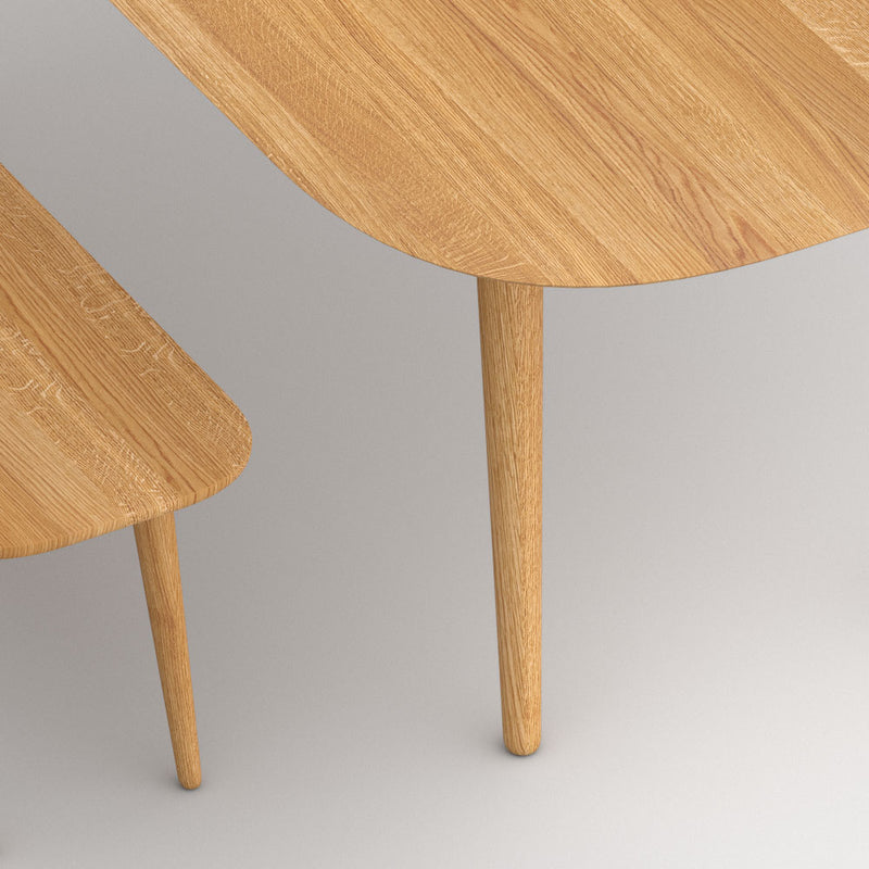 Detail of amber table and bench corners, round and tapered.