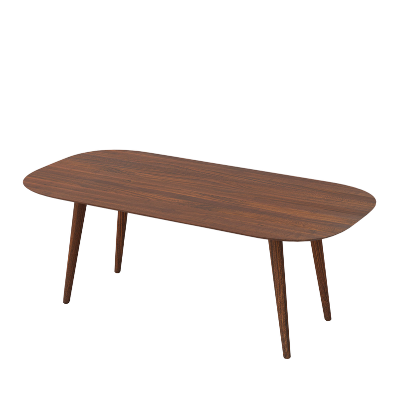 solid walnut dining table with curved edges and rounded legs