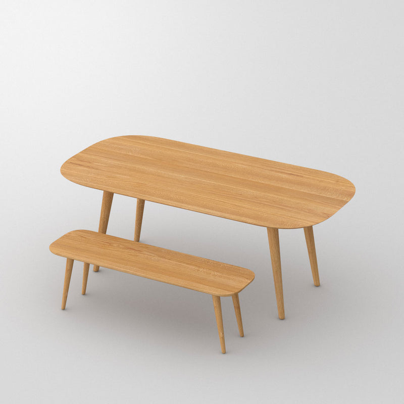 oak rectangular table with bench showing rounded leg and corners
