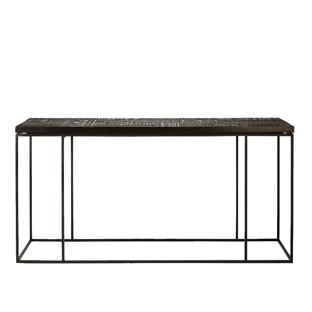 Front on picture of Antix Console Table with simple black frame and legs