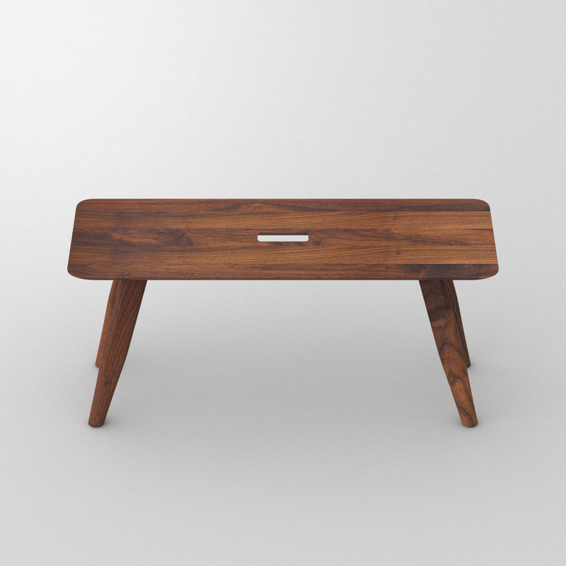 Walnut  atlas bench, angled legs with a hand hole in centre for moving around.