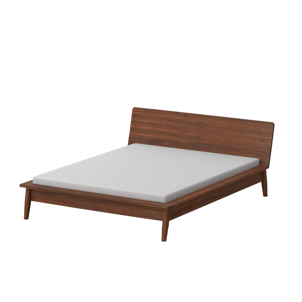 solid walnut double bed with white mattress