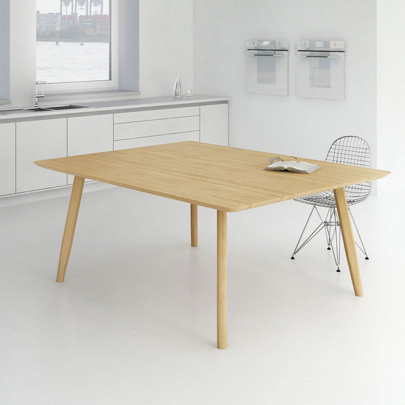 atlas oak table in white kitchen with dining chair