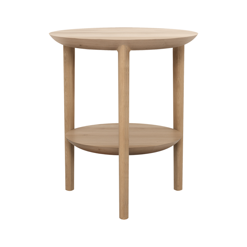 B1 side table - flat round tabletop with a tapered underside. same style shelf underneath.rounded legs.