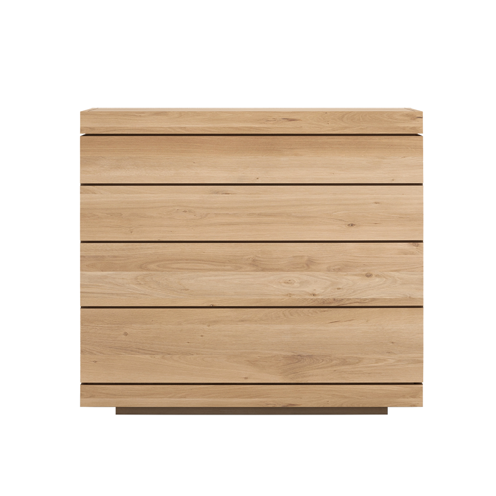 chest of drawers with smaller drawer at the top, graduating in size down to deeper drawer at the bottom.