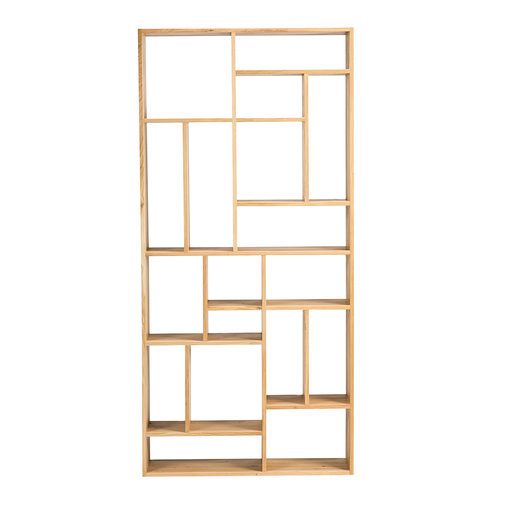 oak open bookcase display with different size and shaped openings