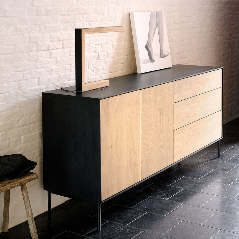 BB 2 door and 3 drawer unit as a modern hall table with storage.