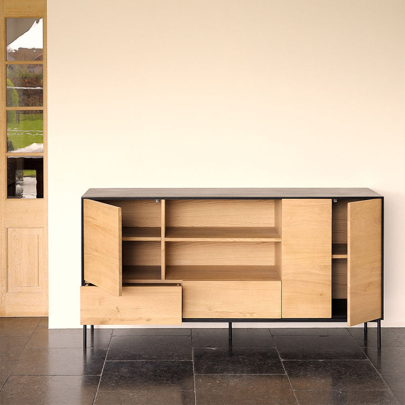 Flat BB storage with the doors open showing shelving within. al oak backs  and shelves