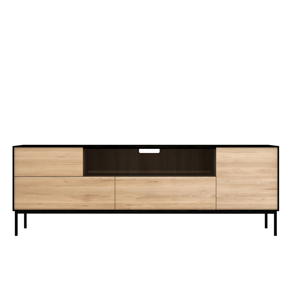 media unit, black and natural oak.