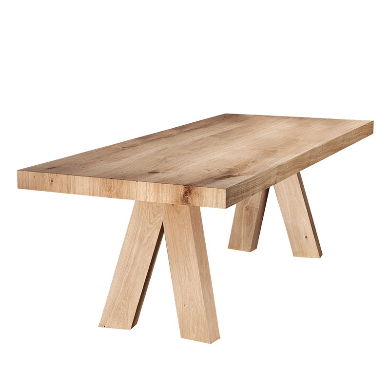 thick oak top barn table with angled legs
