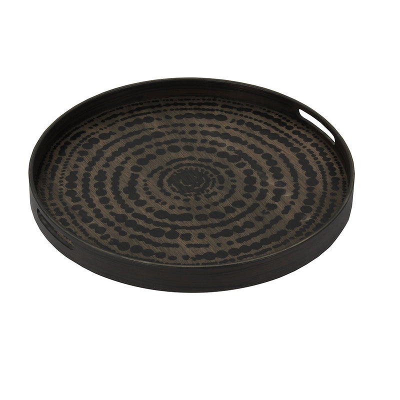 dark wood tray with handles, lighter wood base with beaded print.