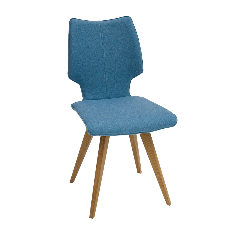 c1 chair with oak angled legs and blue seat