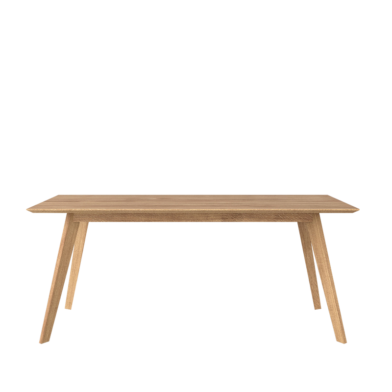 Citie oak dining table, side view , showing light triangle profile to leg