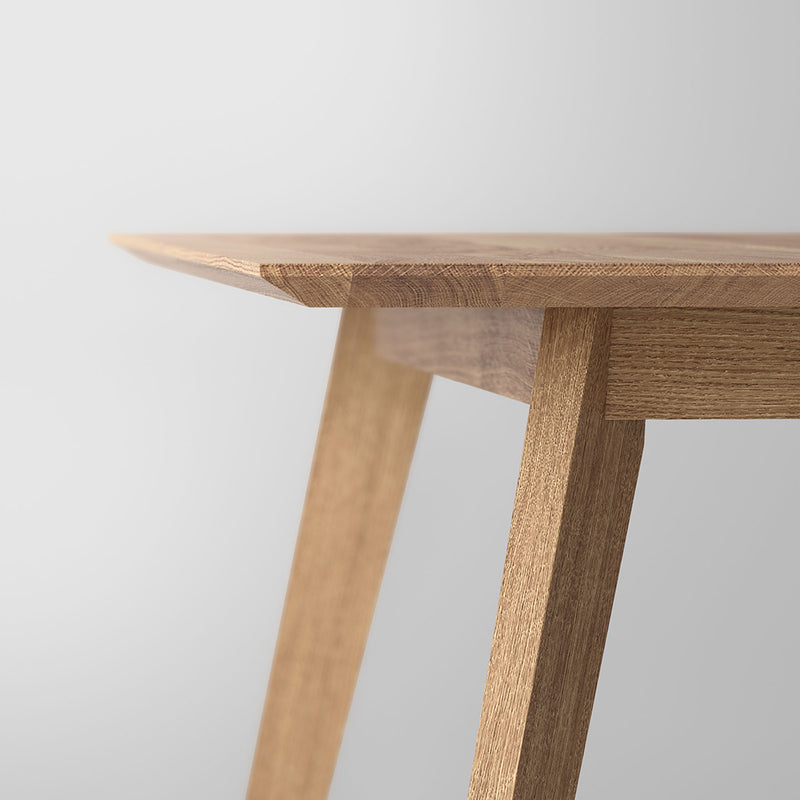Close up of angled edge and leg detail of the oak citie dining table