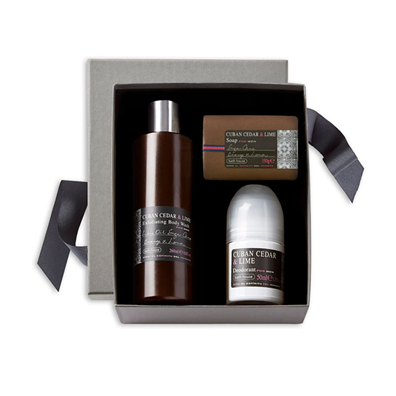 cuban cedar and lime shower giftset for men, deoderant , bodywash and soap bar in a grey luxury giftbox