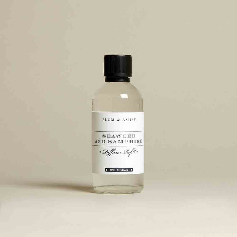 Diffuser refill liquid in its small clear glass bottle with white label. and black lid.