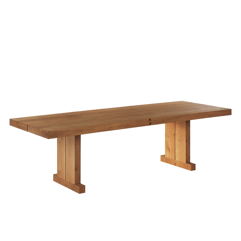 Double oak dining table with gap design running down the centre of the table and leg detail