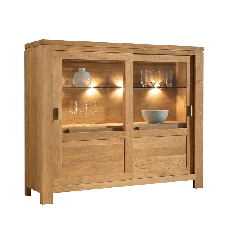 sliding door cabinet made in oak with a glass shelf and lighting