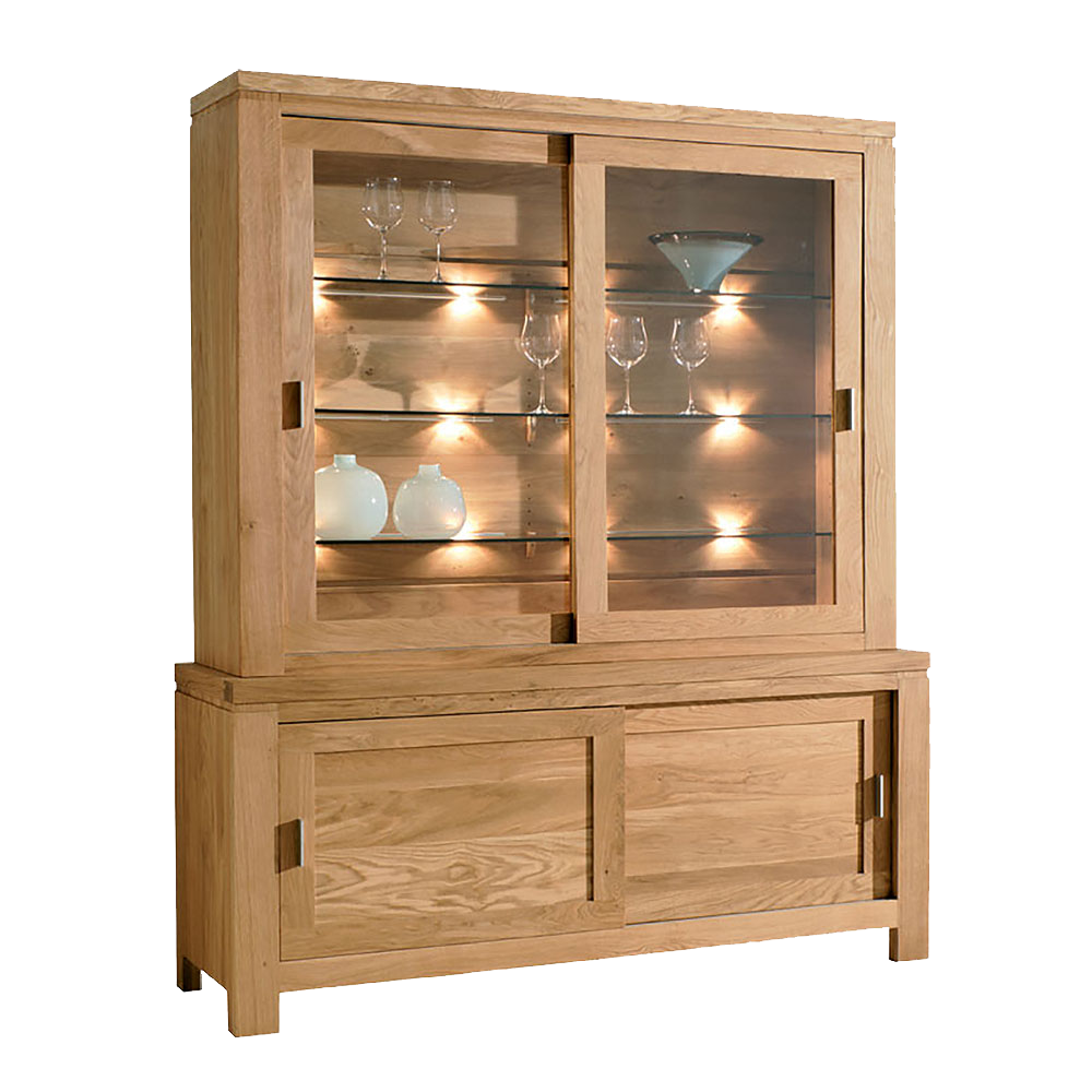 EOS Oak Glazed Dresser with Sliding Doors