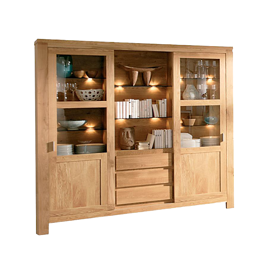 Eos large sliding door display cabinet with lighting behind glass and 3 central drawers
