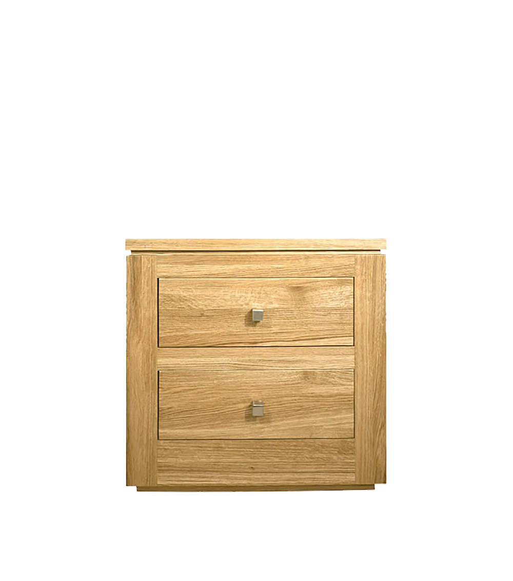 elements Oak bedroom collection, 2 drawer bedside shown with square silver knobs