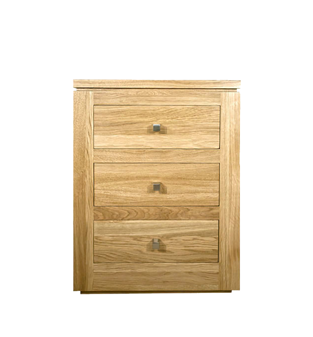 elements Oak bedroom collection, 3 drawer bedside shown with square silver knobs