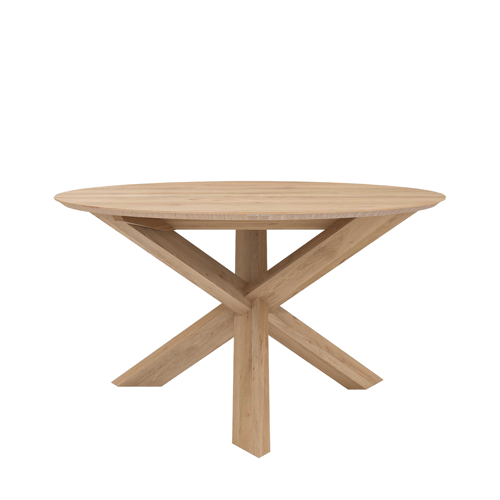 Elements dining table side view showing legs crossed at the centre pedestal