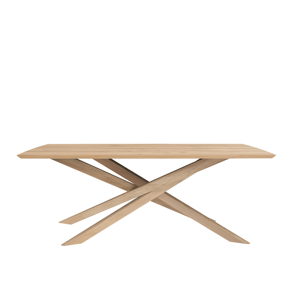 elements  solid oak dining table with crossed  legs
