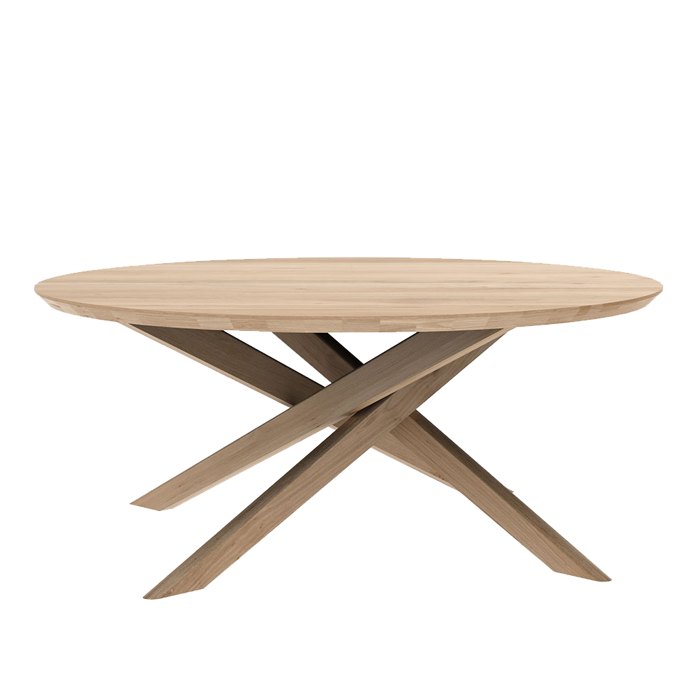 side view of round elements coffee table, tapered edge over legs that cross underneath
