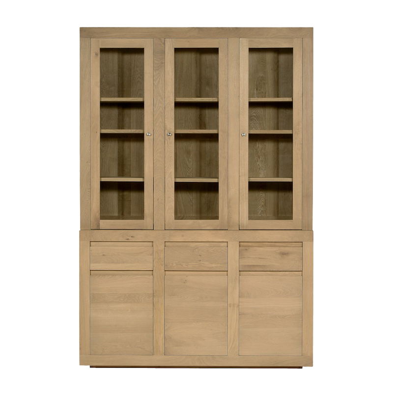 Contemporary Oak Flat 6 Door Cupboard