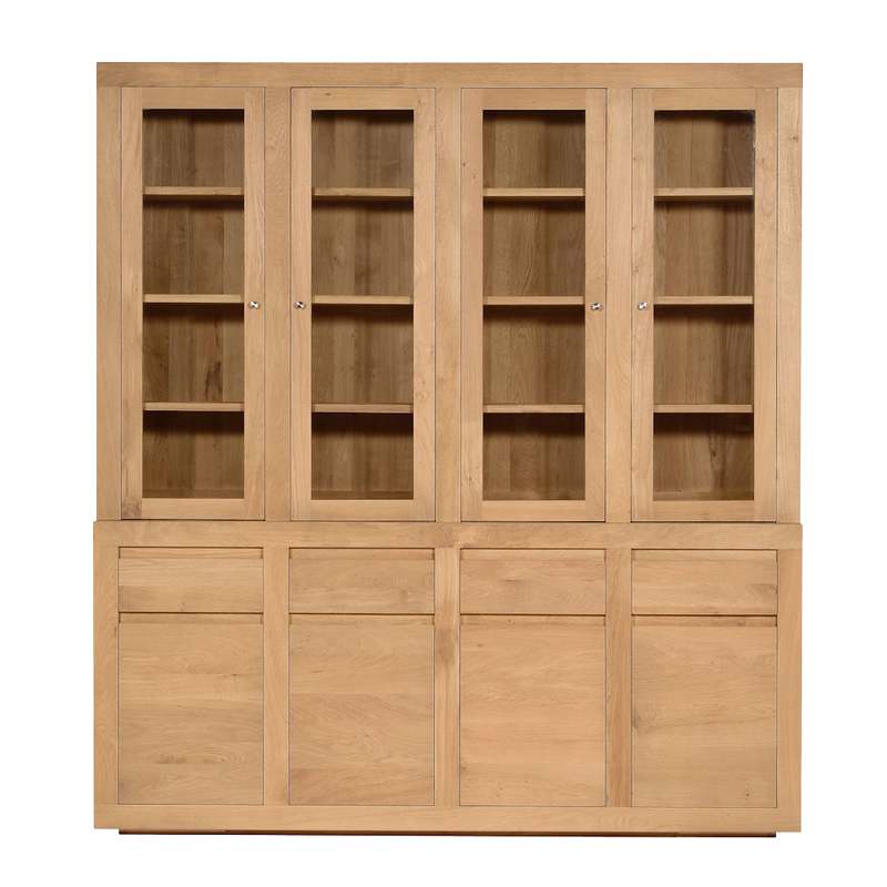 Contemporary Oak Flat 8 Door Cupboard