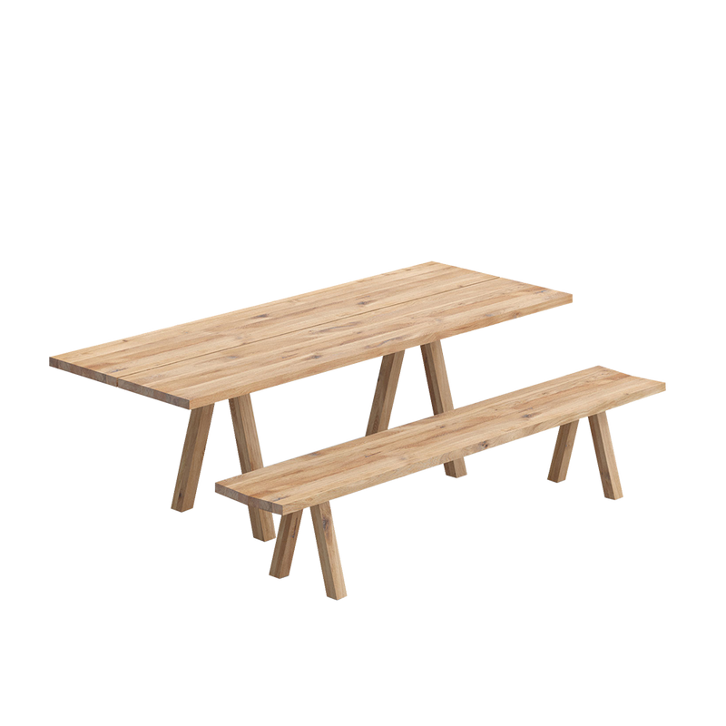 Facile dining table in oak with accompanying bench, trestle style legs