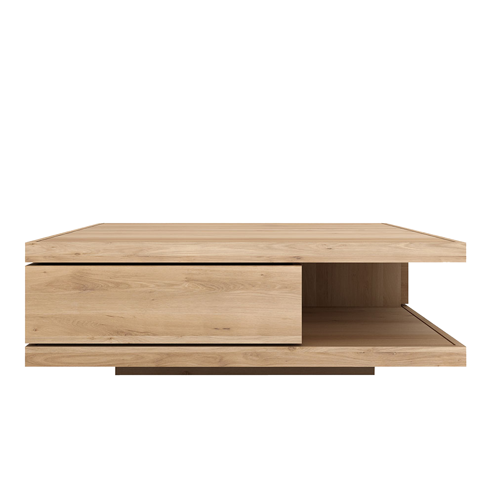 Flat coffee table, showing drawer front and open shelf underneath