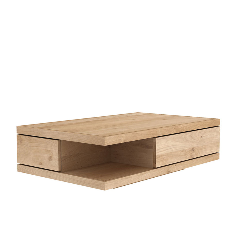 Flat coffee table, showing drawer front and open shelf underneath. angled veiw to see in space underneath