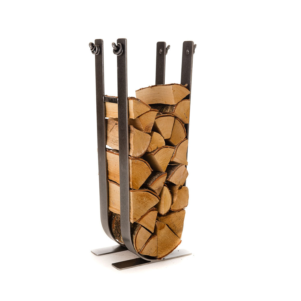 tall vertical log store in a u shaped holder, know detail at tops.