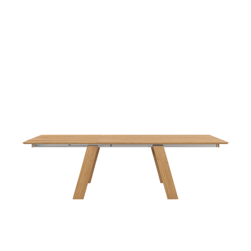 Frame oak table side view showing tilted legs