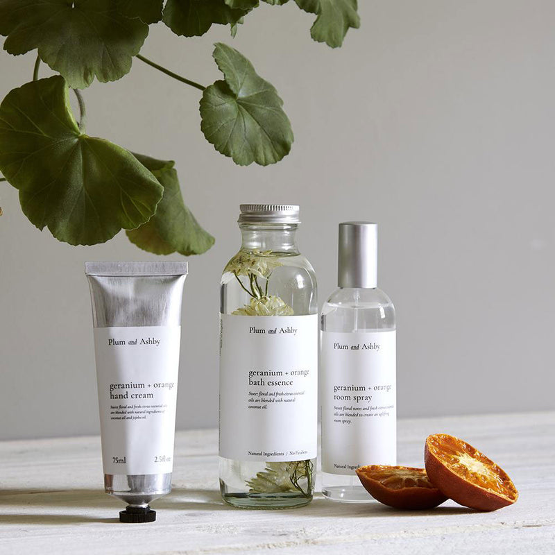 geranium and orange collection ofhome fragrance , room spray, hand cream and bath essence.