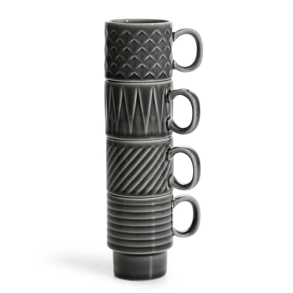 charcoal grey espresso cups, shown stacked together for storage.