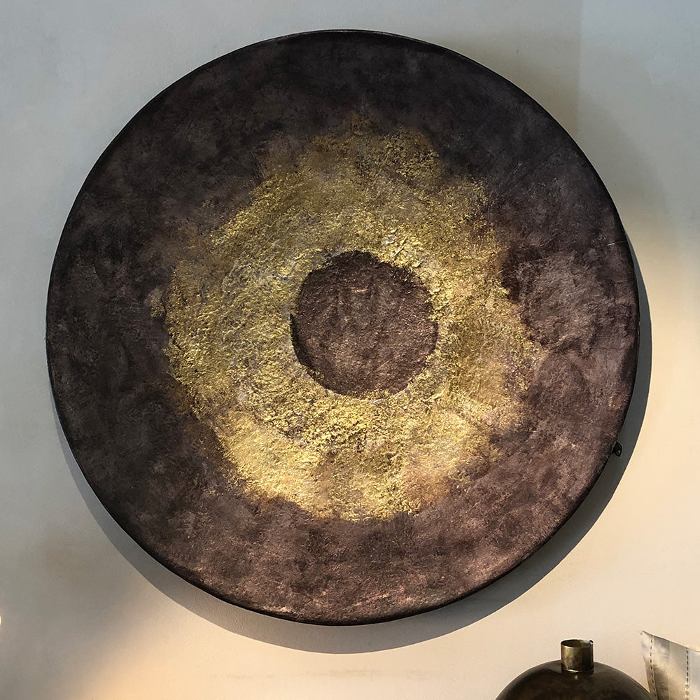 Grey & Gold Wall Disc