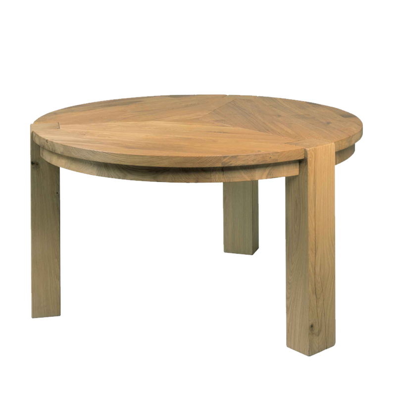 round oak dining table with 3 chunky legs with leg detail showing through the top