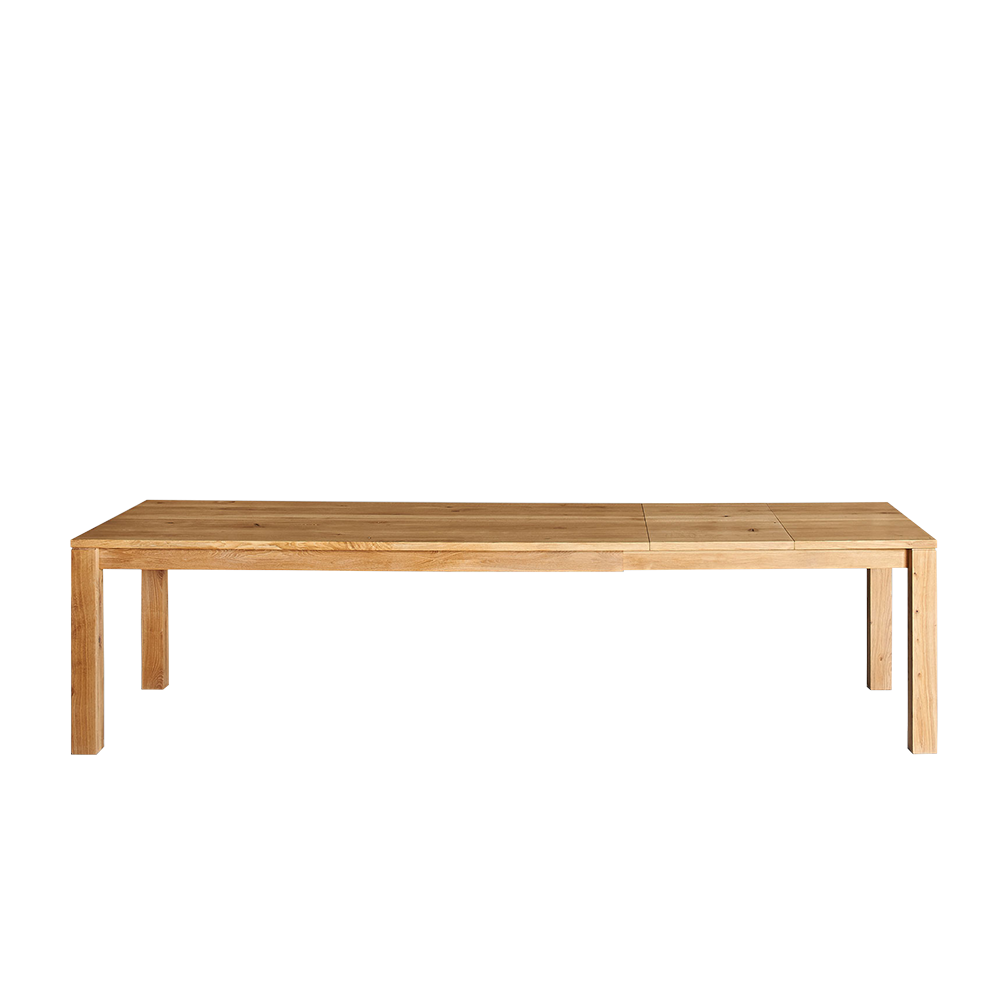journeyman dining table in oak,  fully extended with two leaves