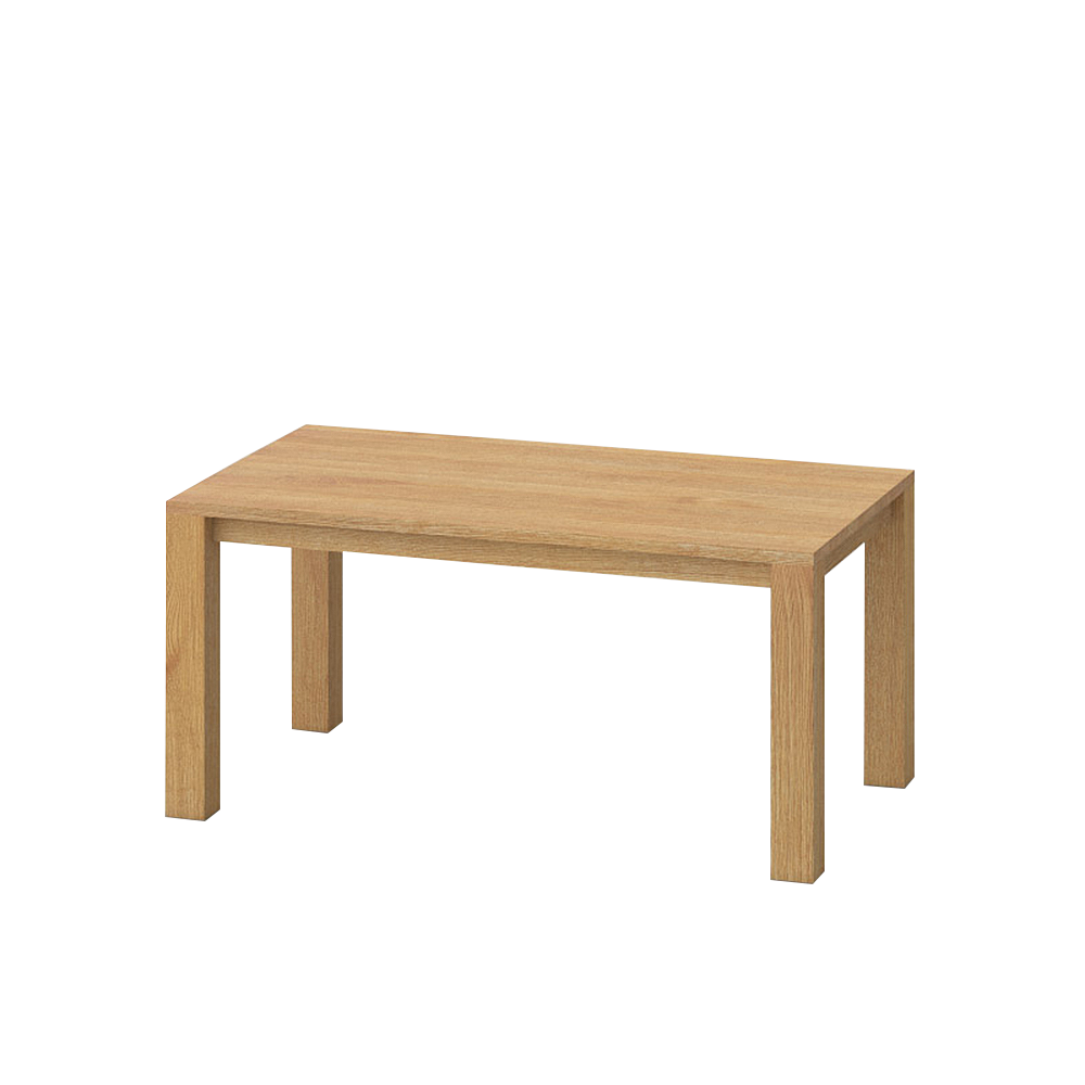 journeyman dining table in oak,  four corner legs, simple top.